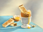 Great Egg-Spectations - Fine art giclee print - breakfast, cute, egg, eggs, Family, food, soldiers, spoon, yolk