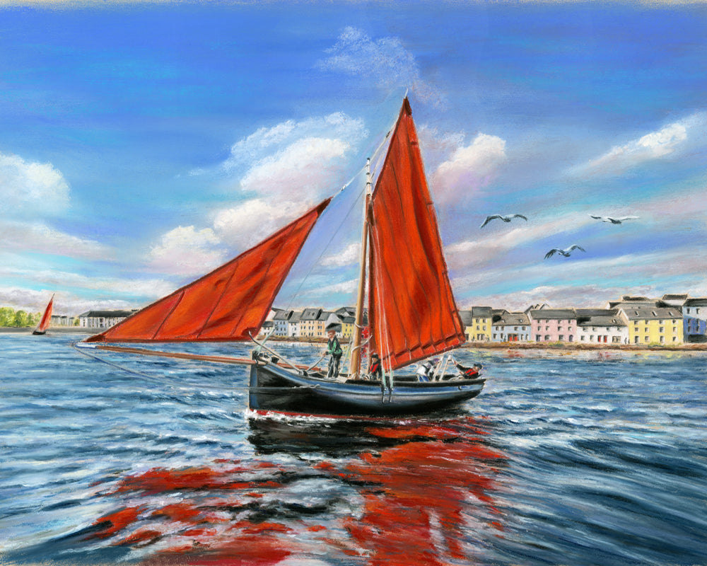 The Galway Hooker - Fine art giclee print - Blue, Boat, Boats, Claddagh, Fishing, Galway, Galway Bay, Galway Hooker, Hooker, Red, Sky, Spanish Arch, Summer, Waterscape
