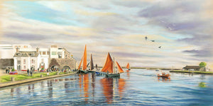 Hookers & Onlookers - Fine art giclee print - Claddagh, Coastal, Corrib, Galway, Galway Bay, Galway City, Galway Hooker, Hooker, Ireland, Landscapes, Marine, Painting, River, Spanish Arch, Water, Waterscapes