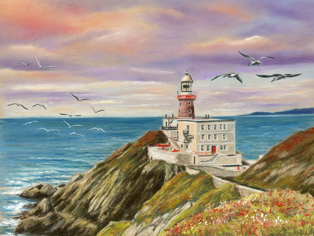 Howth Head Lighthouse - Fine art giclee print - Birds, coast, coastal, dublin, howth, howth head, Ireland, Irish places, Landscape, lighthouse, Lighthouses, ocean, sea, sunrise, Water, Waterscapes