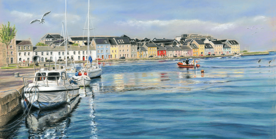Ripples - Fine art giclee print - boat, boats, Claddagh, Corrib, Galway, Galway City, Long walk, Painting, people, river, Waterscapes