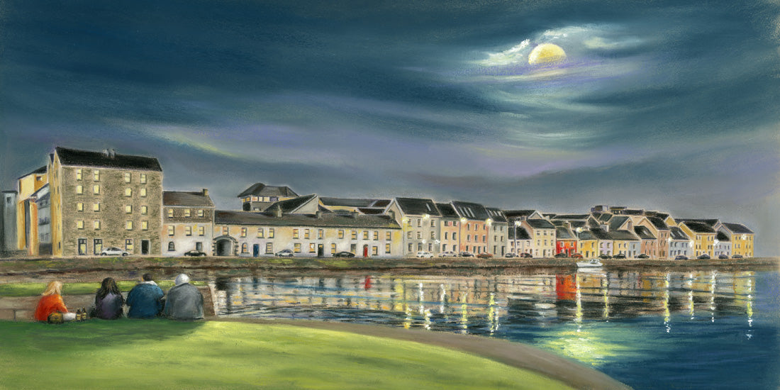 Moon Walk - Fine art giclee print - Claddagh, Corrib, Dark, Galway, Galway Bay, Galway City, Landscape, Landscapes, long walk, moon, Night, Painting, River, Spanish Arch, sparch, Water, Waterscapes