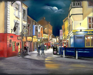 Moonshine on Quay Street - Fine art giclee print - Dark, Galway, Galway City, Moon, Naughtains, Night, Nightscape, Nighttime, pub, Quay Street, Street