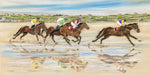 Omey Races, Connemara - Fine art giclee print - animals, beach, Connemara, Family, Farm, horses, Irish, omey, Painting, Racing, Sand, Summer