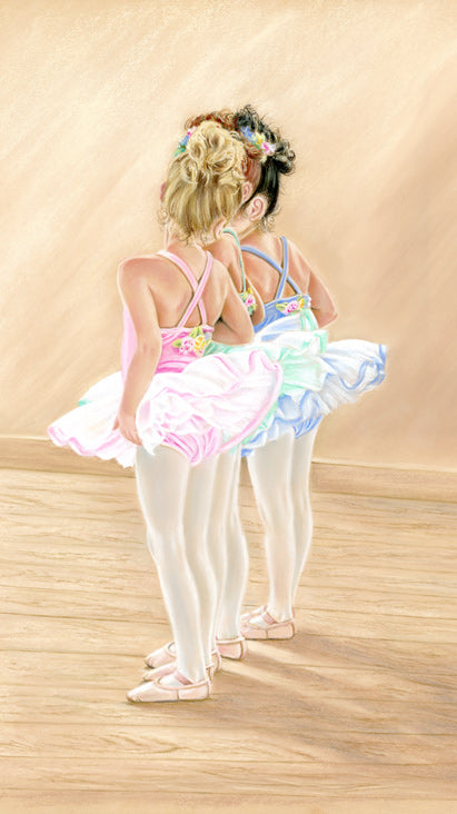 Petit TuTu - Fine art giclee print - ballerinas, child, children, cute, dancers, friends, friendship, kids, Painting, portrait, tutu