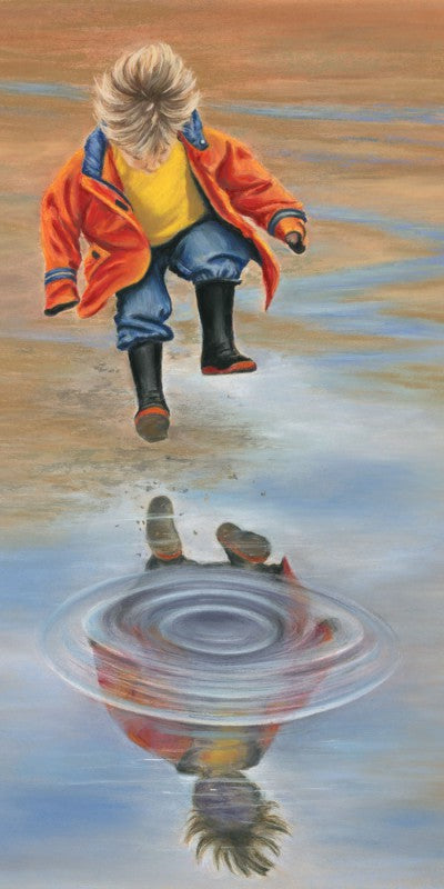Puddles! - Fine art giclee print - Child, Children, Cute, Fun, Kid, Painting, Water