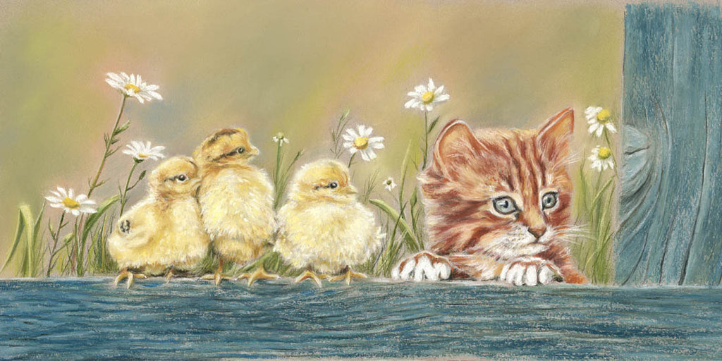 Puss and Pals! - Fine art giclee print - animal, animals, babies, Bird, Birds, Cat, chick, Chicks, cute, easter, Family, Farm, friends, funny, kitten, Painting, pets, seasonal