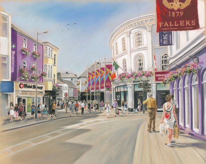 Retail Therapy, Galway - Fine art giclee print - Galway, Galway City, People, Shop Street, Shopping, Street, Townscapes