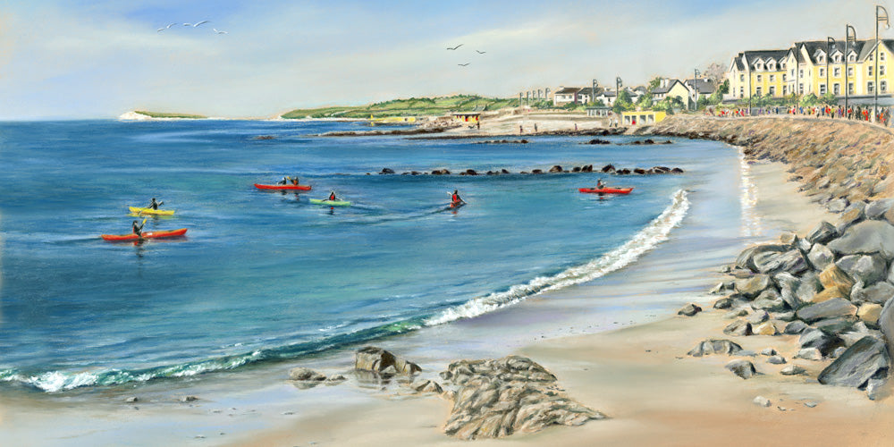 Sunday School - Fine art giclee print - Beach, Boats, Coastal, Galway, Galway City, Painting, Prom, Salthill, Seaside, Summer, Water, Waterscape, Waterscapes