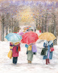 Three Bags Full - Fine art giclee print - Christmas, Family, friendship, holidays, People, Shopping, Snow, teamwork, women, xmas