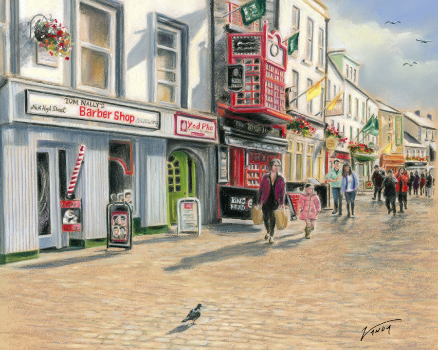 Tom Nally's Barber Shop - Fine art giclee print - Barber, Galway, High Street, Ireland, Pigeon, Quay Street, Spanish Arch, Street