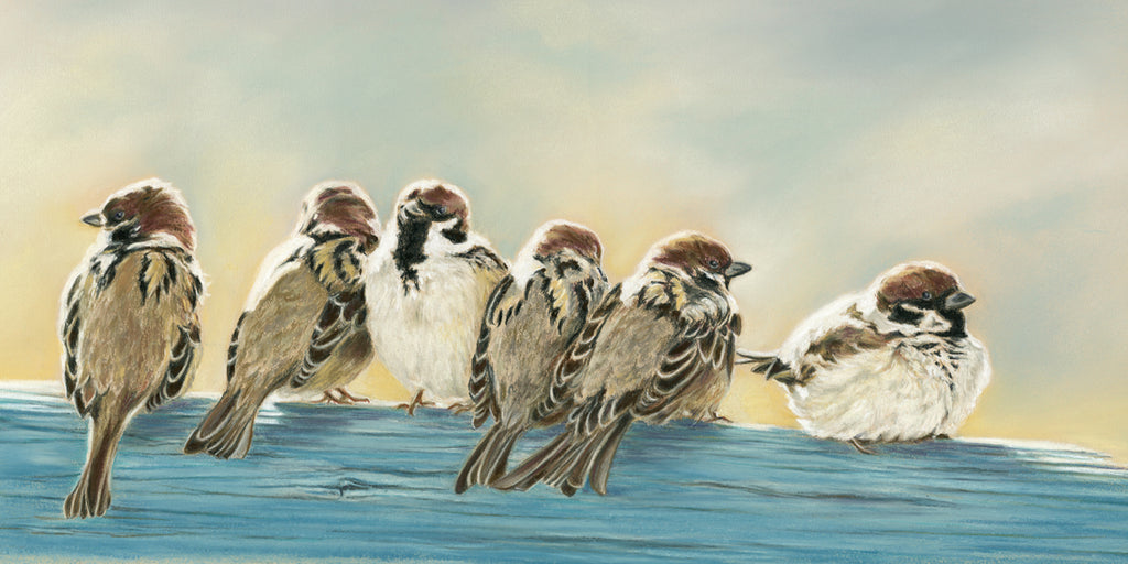 Twitter - Fine art giclee print - animals, Bird, Birds, Family, friendship, group, Love, Painting