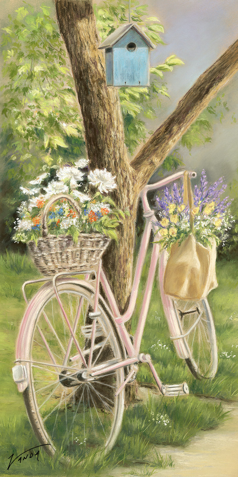 Tyred out - Fine art giclee print - Bicycle, flora, nature, Old, Outside, Painting, Still life, tree