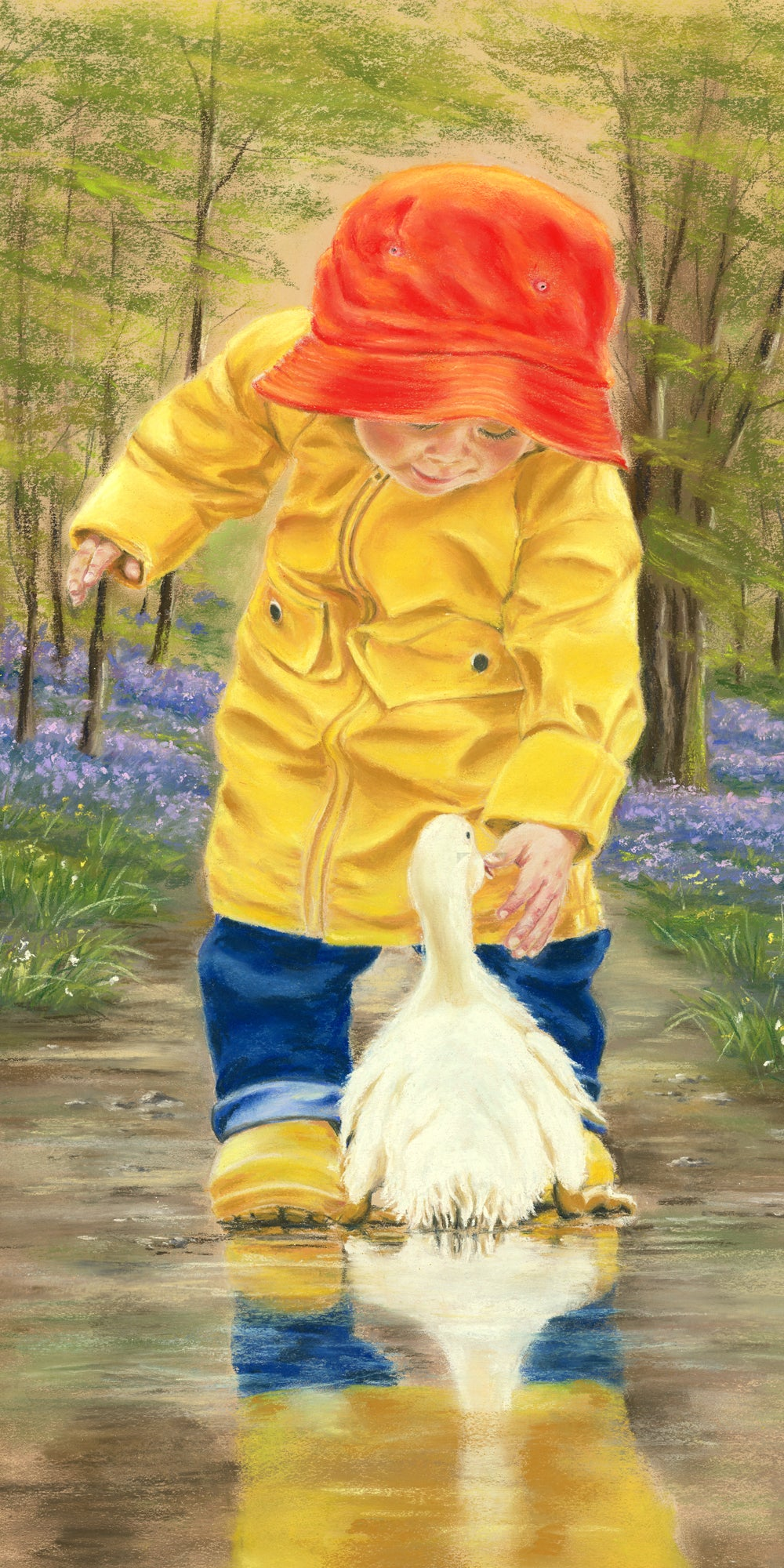 Waddle! - Fine art giclee print - animals, Bird, Birds, Children, Outside, Painting