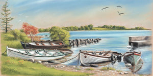 Annaghdown Pier on Lough Corrib, Galway - Fine art giclee print - Annaghdown, Boats, Connemara, Fishing, Galway, Lake, Landscapes, Painting, Pier, Water