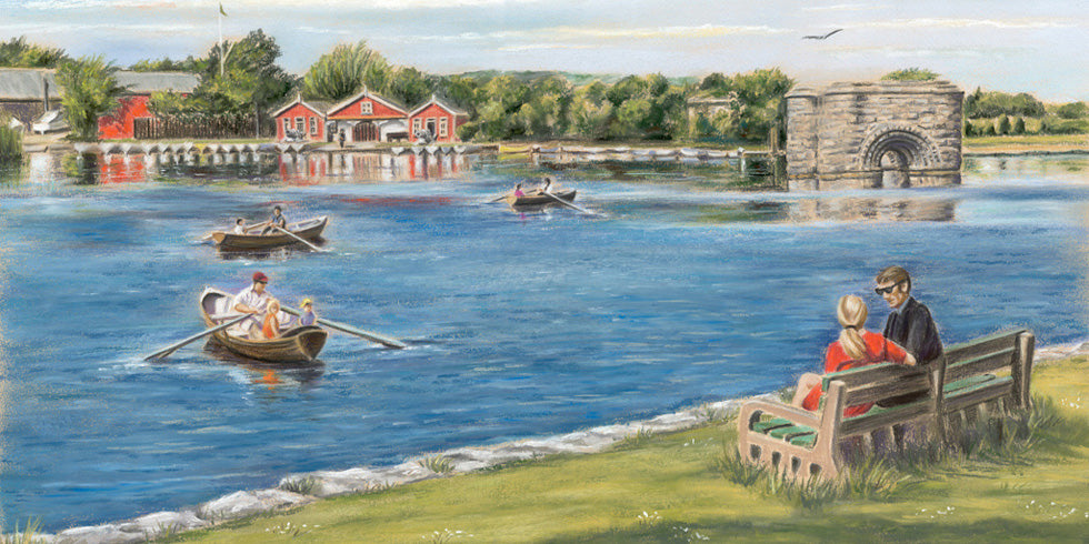 Earl's Island - Fine art giclee print - boat, boats, Corrib, Galway, Galway City, Painting, people, river, Waterscapes