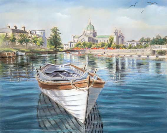 Cathedral view - Fine art giclee print - Boat, Cathedral, Fishing, Galway, Water
