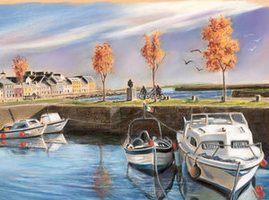 Claddagh basin - Fine art giclee print - Boats, Claddagh, Corrib, Galway, People, Reflections, River, Spanish Arch, Water