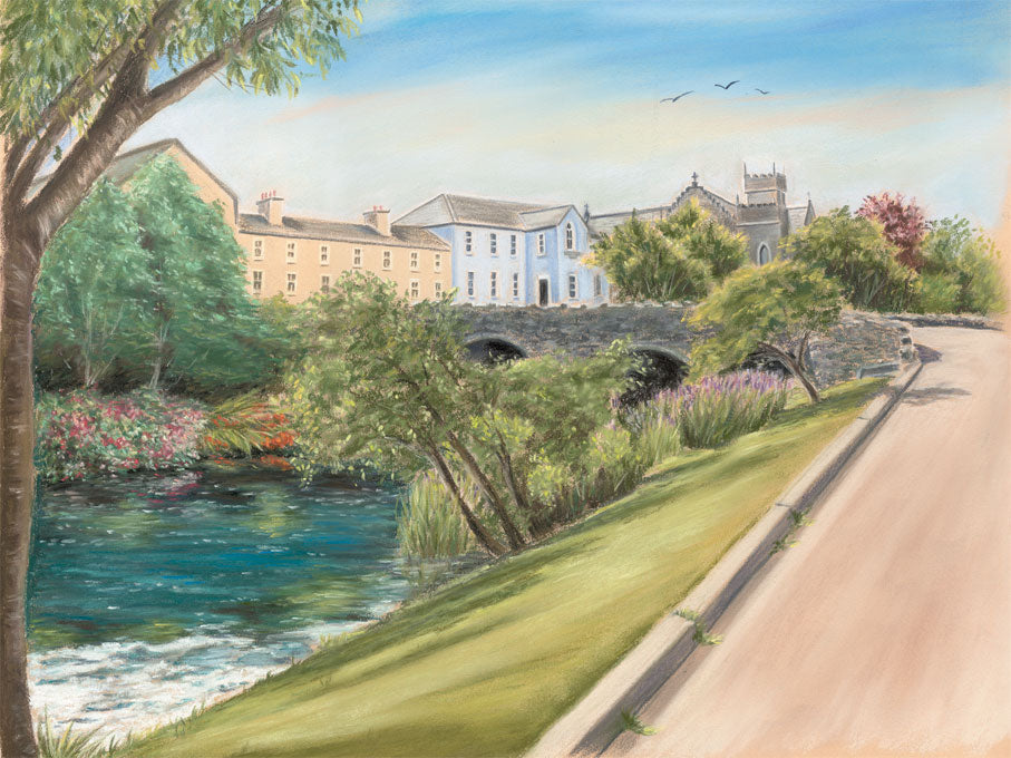 Convent, School & Church Oughterard - Fine art giclee print - Connemara, Convent, Galway, Oughterard, River, Water