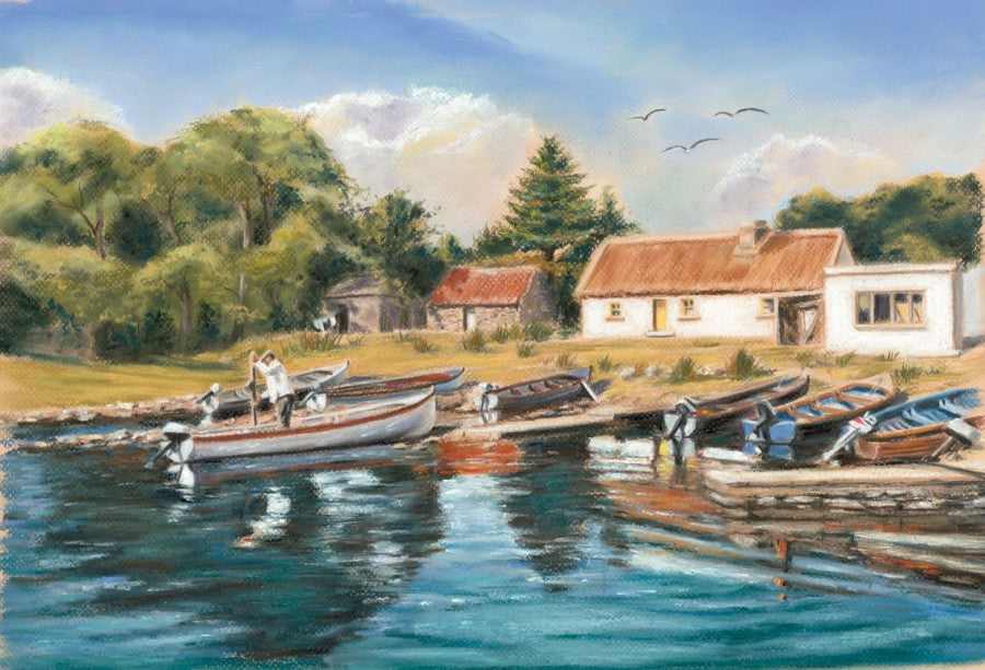 Cottage at Baurisheen on Lough Corrib - Fine art giclee print - Baurisheen, Boats, Corrib, Cottage, Galway, Lake, Lough, Oughterard