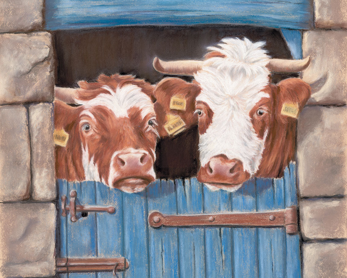 An-Udder fine mess - Fine art giclee print - animals, Cattle, Couple, Cow, Cows, Farm, Love