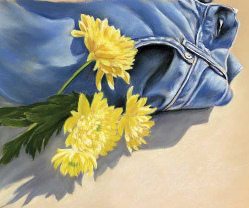 Denims & Crysants - Fine art giclee print - crysants, denim, Flowers, Still Life