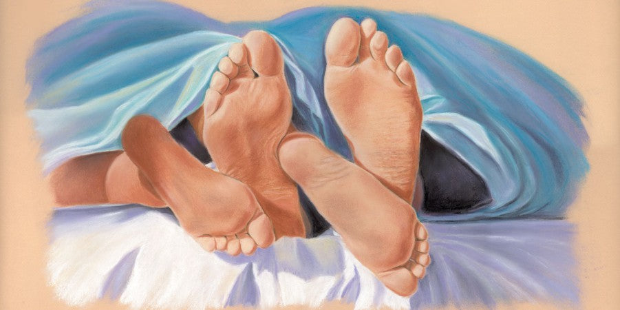 This Little Piggy - Fine art giclee print - Comfort, Couple, Cute, Feet, Funny, Love, Painting, People, Warm