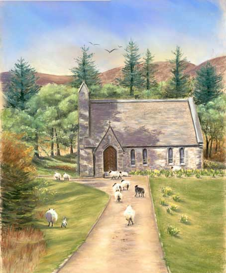 The Flock - Fine art giclee print - Animal Kingdom, animals, Church, Connemara, Galway, Landscape, Landscapes, Sheep