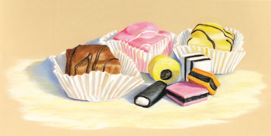 French fancies - Fine art giclee print - food, Painting, sweet, sweets, tasty, treats, yum