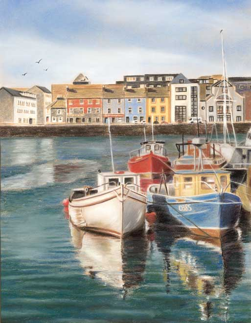 Galway harbour - Fine art giclee print - Boat, Boats, Fishing, galway, Galway City, Ireland, River, Water