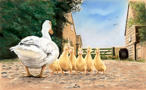 Great Quack - Fine art giclee print - animals, Bird, Birds, Chicks, Children, cute, Easter, Family, Farm, Farmyard, Love, Painting, Parent
