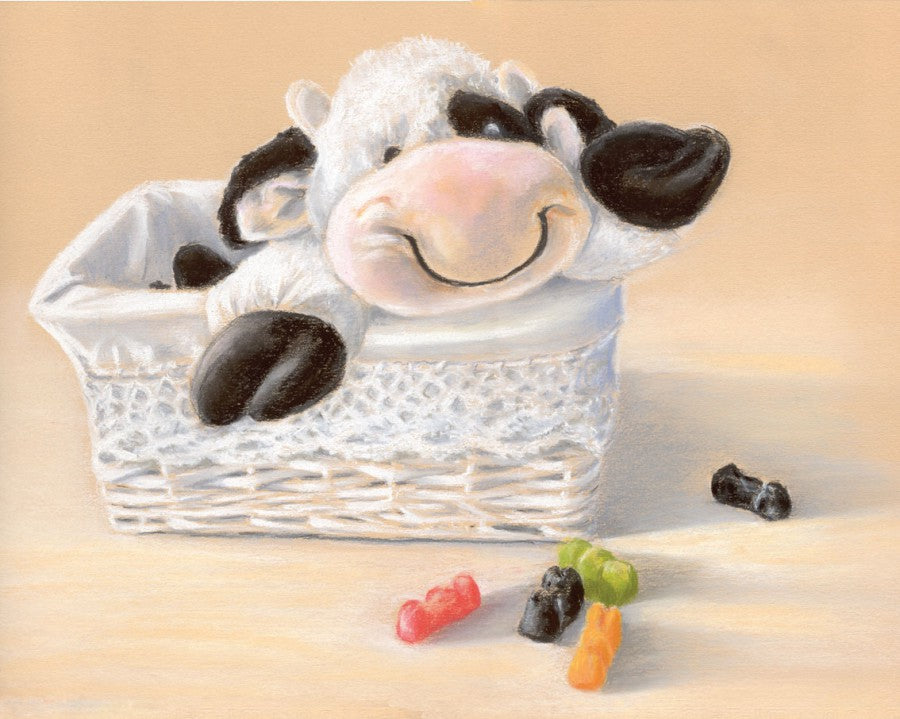 Happy Hugs - Fine art giclee print - Child, Children, Cow, Cute, Funny, Kids, Sweets, Toy, Toys