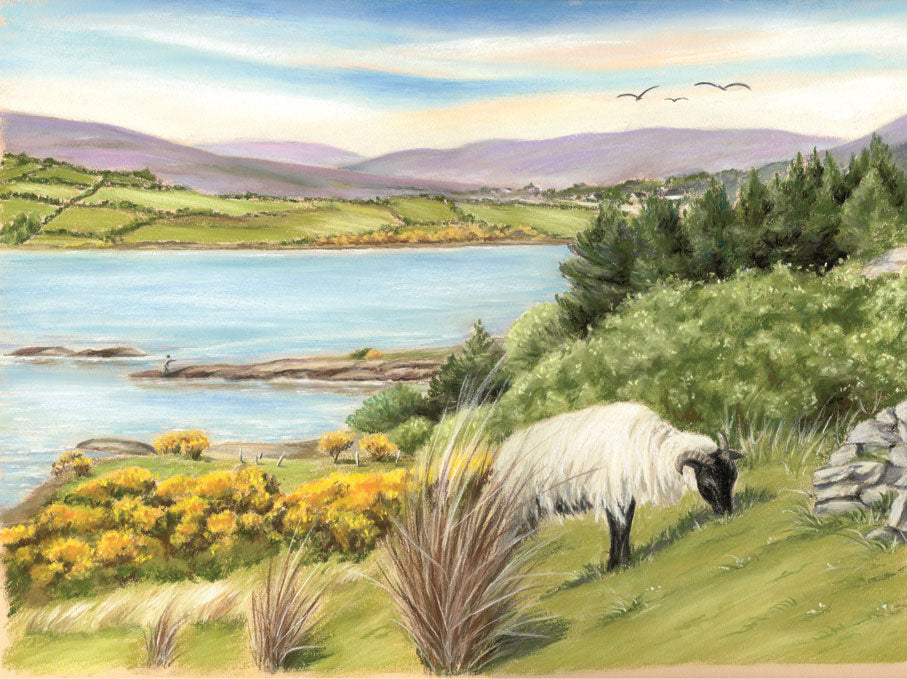 King of the Hill - Fine art giclee print - animal, animals, birds, farm, field, grass, hill, lake, landscape, mountains, sheep, water