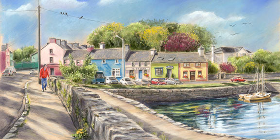 Kinvara - Fine art giclee print - Boat, Galway, Harbour, Ireland, Kinvara, Landscapes, Painting, Town, Water