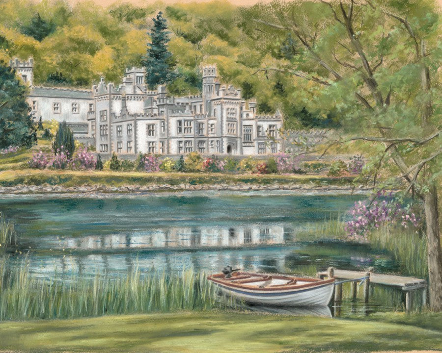 Kylemore Abbey - Fine art giclee print - Boat, Connemara, Galway, Kylemore, Kylemore Abbey, Lake, Land, River, Water