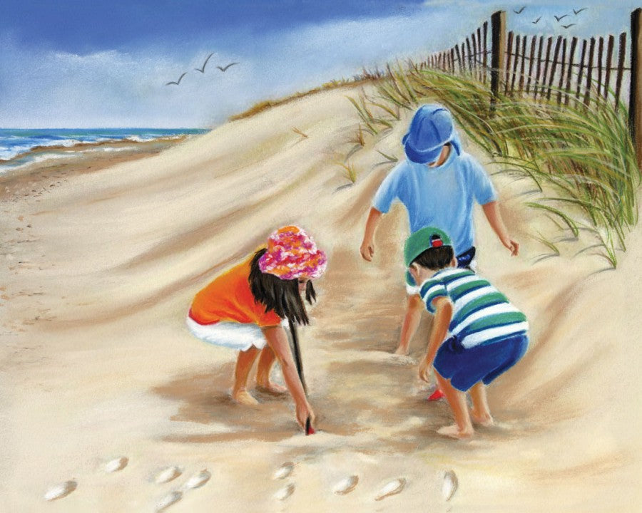 Little Diggers - Fine art giclee print - beach, child, children, cute, family, fun, funny, kids, seaside
