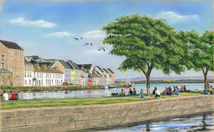 Summer in the city - Fine art giclee print - Claddagh, Corrib, Galway, Galway City, Long Walk, Middle Arch, Painting, Spanish Arch