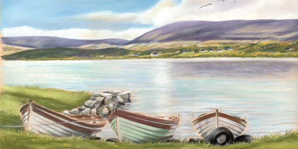Waiting for the Mayfly - Fine art giclee print - Connemara, Corrib, Galway, Lake, Landscape, Mayfly, Painting, River, Water