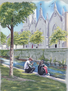 Canal Serenade - Fine art giclee print - busking, City, friends, friendship, Galway, Guitar, love, Mercy Convent, Music, Outside