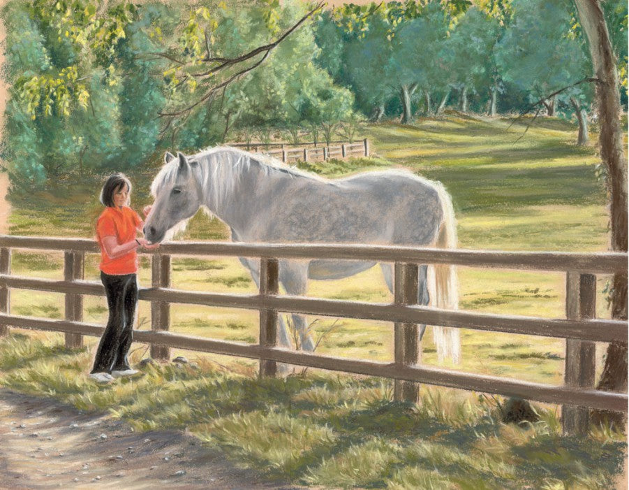 Nemo - Fine art giclee print - animal, animals, cute, friendship, horse, horses, pets, pony, portrait, woman