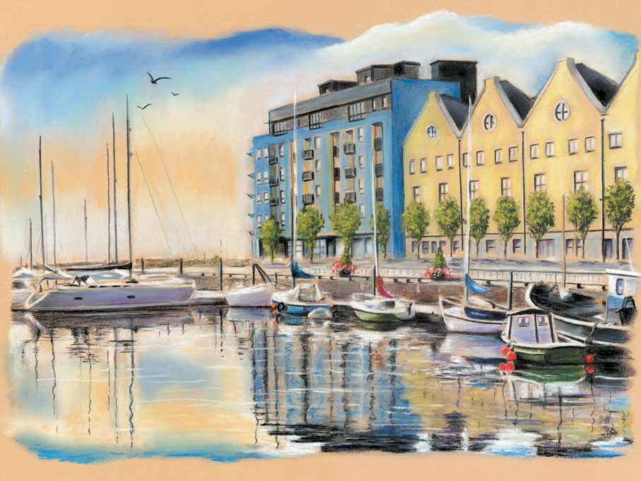Galway docks - Fine art giclee print - Boat, Boats, Fishing, galway, Galway City, Ireland, River, Water