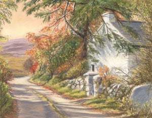 The Old School House at Leam in Connemara - Fine art giclee print - Connemara, Galway, House, Leam, old, Road, school, Sunset, Trees