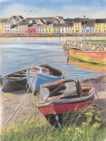 Old Comrades - Fine art giclee print - Boat, Boats, Fishing, galway, Galway City, Ireland, River, Water