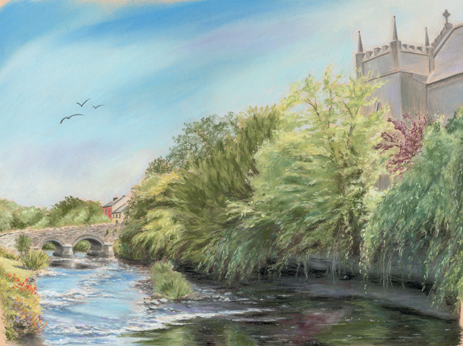 Oughterard Bridge & Church - Fine art giclee print - birds, bridge, church, galway, Ireland, Oughterard, river, trees, water