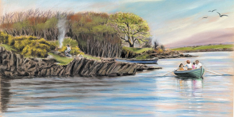 Picnic on Lough Corrib - Fine art giclee print - boat, camping, chill, Connemara, family, Galway, lake, landscape, lough, Painting, river, Waterscapes