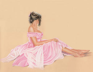 Lady in the pink dress - Fine art giclee print - dress, girl, lady, pink, portrait, woman
