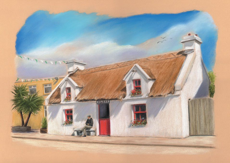 Power's Thatch Pub - Fine art giclee print - Connemara, Galway, Oughterard, Pub, Townscapes