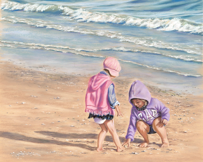 Precious Pebbles - Fine art giclee print - Beach, Children, Cute, Family, Friendship, Fun, Kids, Playing, Sand, Seaside, Water