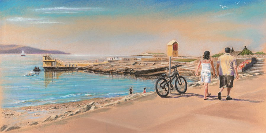 Salthill Promenade - Fine art giclee print - Coastal, Galway, Galway Bay, Painting, Prom, Salthill, Waterscapes