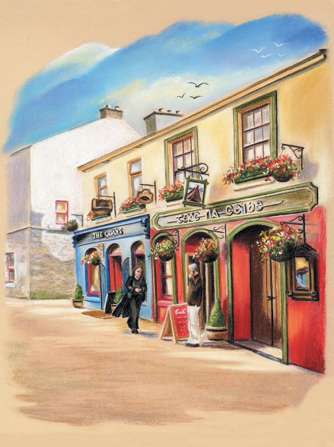 The Quays, Galway - Fine art giclee print - Galway, Galway City, Pubs, Quay Street, The Quays, Townscapes